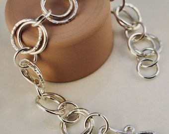 Handmade double link sterling silver bracelet | Textured silver chain bracelet | Handmade silver bracelet | Gift for her