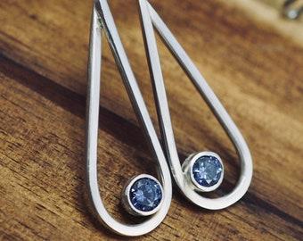 Silver drop earrings with blue cubic zirconias   Handmade 925 sterling silver dangle earrings   Handmade earrings