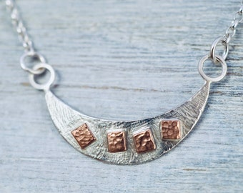 Dainty sterling silver and copper necklace | Cute layering necklace | Handmade silver necklace | Gift for her