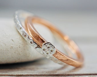 Sterling silver and copper stacker rings | Textured stacking rings with embellishments | Handmade