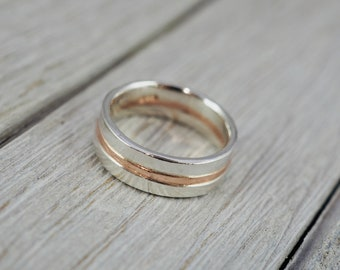 Heavy silver and copper ring | Sterling silver and copper ring | Mens ring | Gift for him | Mens jewellery | Handmade silver jewellery