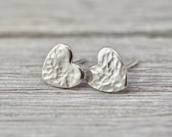 Little silver heart earrings | Sterling Silver love hearts | Handmade silver jewellery | Gift for her | Gift for wife | Bridesmaid gift