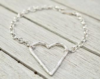 Silver heart bracelet | Large silver heart bracelet | Sterling silver textured heart bangle | Handmade silver jewellery | Gift for her