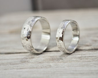 Matching heavy silver wedding bands | Chunky silver wedding ring set | Silver wedding rings | Handmade wedding rings | His and her ring set