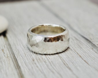 Chunky sterling silver ring | Heavy silver ring | Hammered silver ring | Very heavy solid silver ring | Handmade silver jewellery
