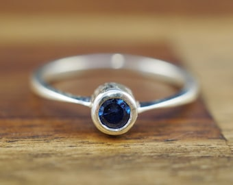 Sterling silver ring with blue stone | Handmade silver jewellery