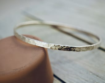 Wide stackable sterling silver bangle | Hammered silver bangle | Handmade | Gift for her