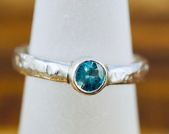 Blue topaz ring | Heavy sterling silver band with bright blue topaz | Handmade silver jewellery