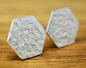 Hexagon 925 sterling silver earrings | Hammered silver studs | Handmade silver earrings | Gift for her