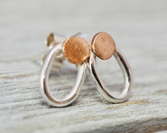 Tiny little silver stud with copper | Sterling silver oval studs with copper detail | Gift for wife | Best friend gift | Mothers day gift