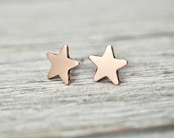 Copper star earrings   Little copper star studs   handmade copper jewellery   star earrings   Star shaped jewellery   Gift for her