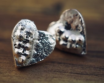 Silver heart earrings | Small heart studs | Handmade silver jewellery | Gift for her | Bridesmaid gift | Best friend gift | Gift for mum