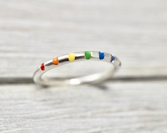 Rainbow ring | Sterling silver ring | Silver rainbow stacker ring |  Sterling silver stacker ring | Handmade silver jewellery | Gift for her