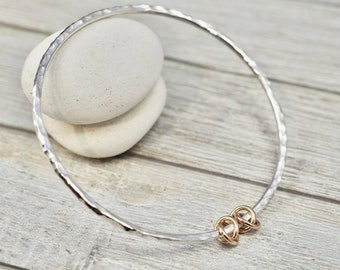 Silver bangle with rose gold loops | Sterling silver stacking bangle with gold links | Handmade silver jewellery | Gift for her