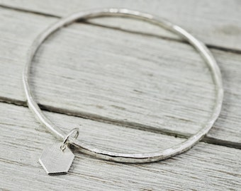 Silver bangle with off hexagon feature | Hammered stacking bangle | Sterling silver handmade jewellery | Silver bracelet | Gift for her
