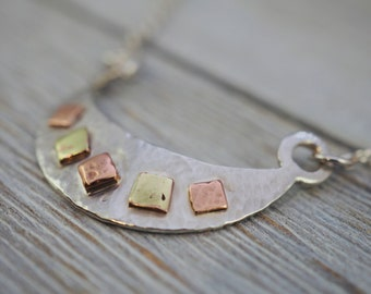 Mixed metal necklace | 925 Sterling silver, copper & brass | Handmade silver jewellery