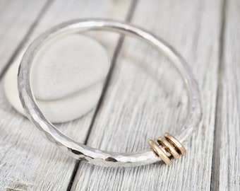 Very heavy silver bangle with gold links   Solid sterling silver bangle with gold links   Chunky silver bracelet   Gift for wife   Handmade