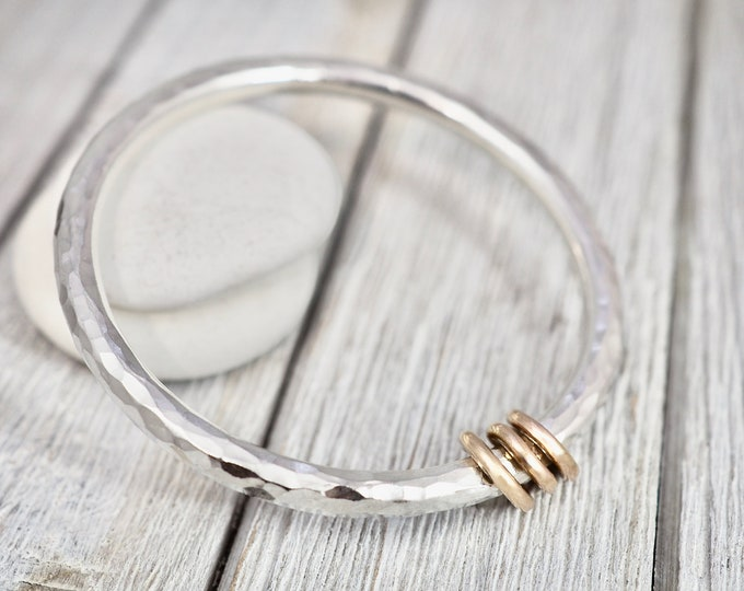 Featured listing image: Very heavy silver bangle with gold links | Solid sterling silver bangle with gold links | Chunky silver bracelet | Gift for wife | Handmade