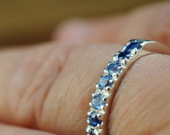 Blue sapphire ring   925 sterling silver   French pave setting   Handmade   Engagement ring   Wedding jewellery