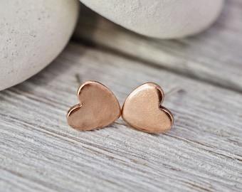 Little copper heart studs | Pure copper heart earrings | Sterling silver posts | Handmade copper jewellery | Gift for her | Best friend gift