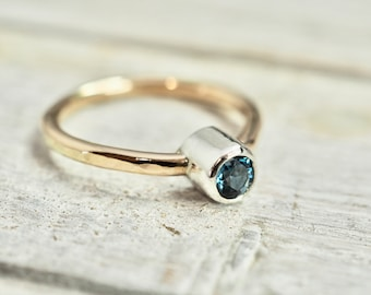 Blue Topaz ring   London blue Topaz ring with gold and silver setting   Mixed metal topaz ring   Handmade silver jewellery   Gift for her