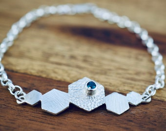 Silver bracelet with London Blue Topaz | Dainty sterling silver bracelet | Handmade jewellery | November birthstone bracelet | Gift for her