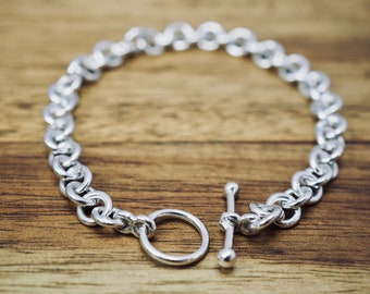 Classic toggle silver bracelet | Contemporary sterling silver link bracelet| Handmade silver jewellery | Bridesmaid gift
