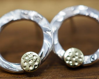 Silver circle earrings with textured brass | Silver circle studs | Handmade Sterling silver earrings