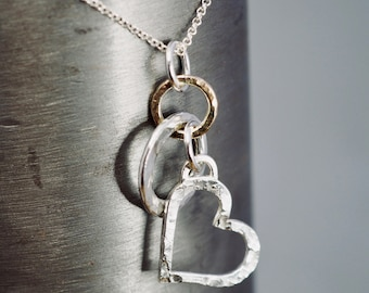 Silver heart pendant with solid 9ct gold link   Silver love necklace with gold   Handmade jewellery   Gift for her   Mothers day gift