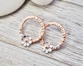 Silver and copper flower earrings | Sterling silver and copper floral studs | Silver daisy earrings | Handmade jewellery | Gift for mum
