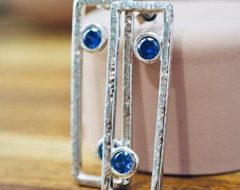 Blue cubic zirconia drop silver earrings | Handmade sterling silver dangle earrings | Handmade silver jewellery