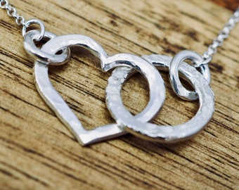 Love heart necklace   Sterling silver heart pendant   Handmade silver jewellery   Mothers day gift    Gift for wife   Gift for mum