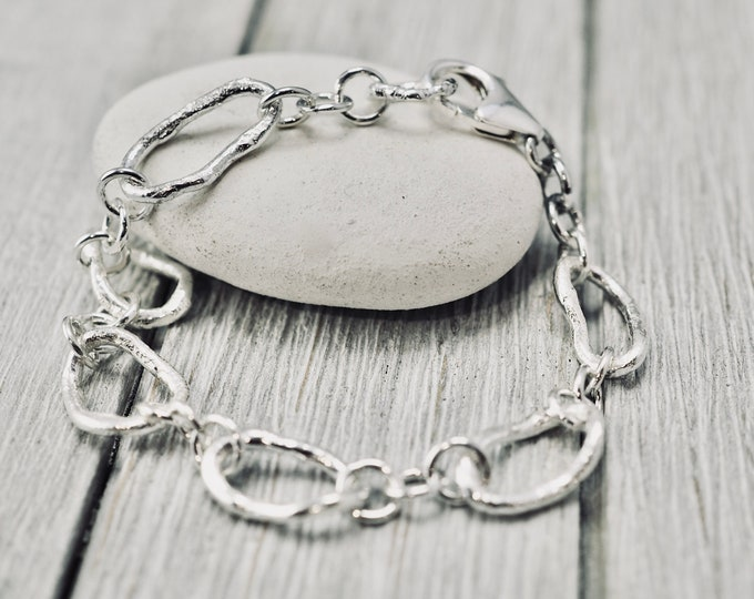 Featured listing image: Organic sterling silver bracelet | Sterling silver twig link bracelet | Handmade silver jewellery | Gift for her | Mothers day gift