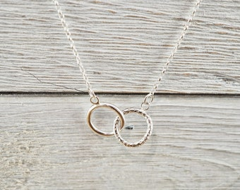 Silver infinity necklace | Sterling silver interlocking circles necklace  | Handmade silver necklace | gift for her | Graduation gift