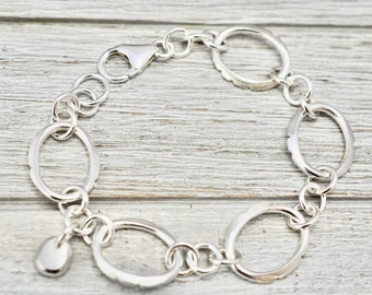SIlver bracelet with silver pebble | Oval link silver bracelet with solid charm pebble | Handmade sterling silver jewellery | Gift for her