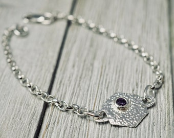 Hexagon bracelet with purple stone | Sterling silver delicate bracelet with CZ | Handmade silver jewellery | Gift for her