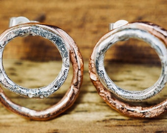 Copper and silver textured studs | 925 Sterling Silver | Handmade silver jewellery
