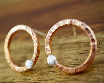 Copper circle earrings with sterling silver dot | Handmade copper and silver jewellery