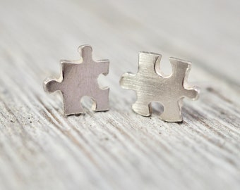 Silver jigsaw studs | Sterling silver jigsaw earrings | Tiny jigsaw studs | Handmade silver jewellery | Gift for her | Best friend gift