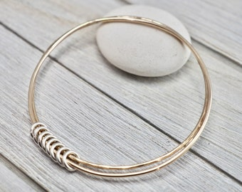 Double gold bangle set with silver loops | Gold circles bangle with silver links | Gold bangle set | Handmade jewellery | Gift for her