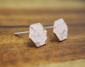 Small copper hexagon studs |  Hammered copper earrings | 925 sterling silver posts and backs