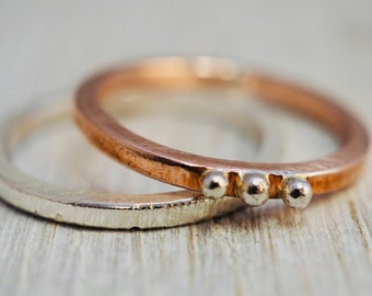 Silver and copper stacking rings   Hammered sterling silver and copper stacking rings   Handmade