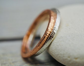 Silver and copper textured stacking rings | Sterling silver and copper stack rings | Handmade