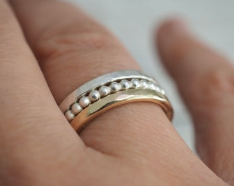 Gold and silver stacking rings   Handmade stacker rings   Sterling silver ring set   Stacker ring set   Handmade copper jewellery
