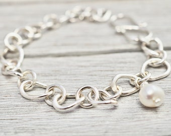 Silver bracelet with pearl | Sterling silver asymmetrical bracelet with freshwater pearl | Silver bracelet | Mothers day gift | Gift for her