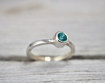 Turquoise zirconia ring   Swarovski Zirconia statement ring   Sterling silver ring   Handmade from scratch   Gift her her   Gift for wife