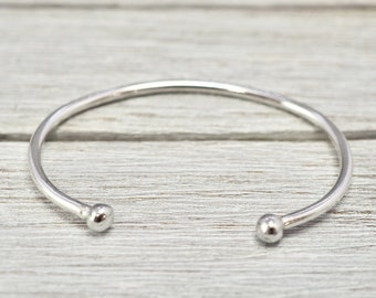Torque bracelet   Sterling silver cuff   Silver open bangle   Childs torque   Christening gift   Kids jewellery   Silver bangle