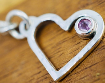Delicate silver heart necklace with purple spinel | Sterling silver heart shaped pendant | Valentine jewellery | Gift for her
