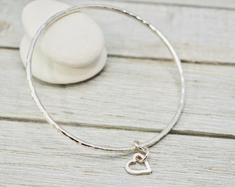 Sterling silver bangle with heart charm   Hammered silver bracelet with heart   Handmade silver jewellery   Valentine day gift for her