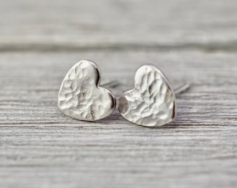 Little silver heart earrings   Sterling Silver love hearts   Handmade silver jewellery   Gift for her   Gift for wife   Bridesmaid gift